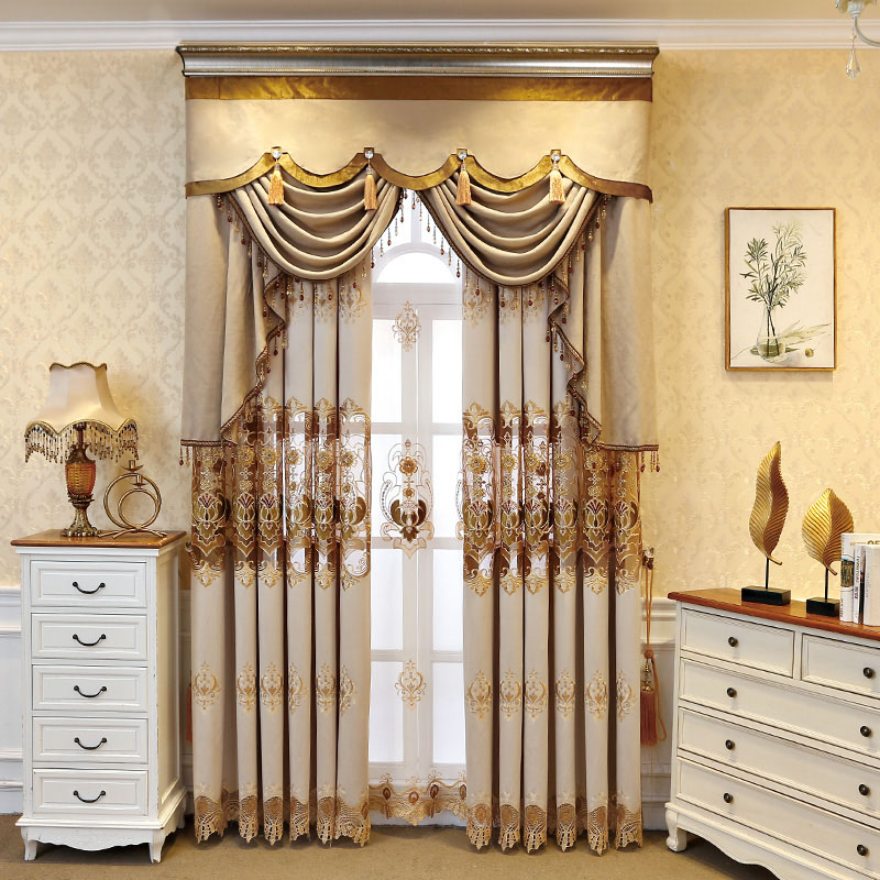 Elegant Embroidered Champagne Blackout Curtains for Living Room Custom 2 Panels Decoration Drapes No Pilling No Fading No off-lining