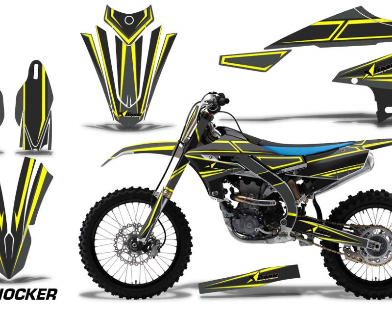 AMR Racing Graphics MX-NP-YAM-YZ450F-2018+-SHOCK Y Kit Decal Sticker Wrap + # Plates For Yamaha YZ450F 2018+áSHOCKER YELLOW
