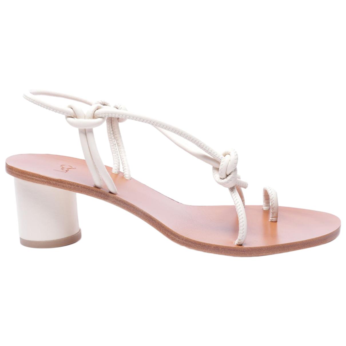 Loq - Sandales   pour femme en cuir - blanc