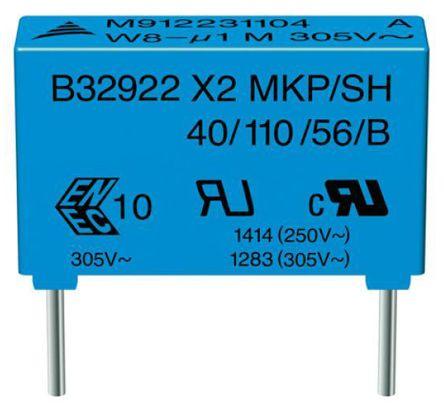 EPCOS 15μF Polypropylene Capacitor PP 305 V ac, 630 V dc ±20% Tolerance B32926H Series