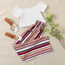 Shirred Ruffle Trim Blouse & Striped Pants