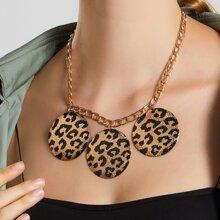 Halskette mit Leopard Muster und rundem Dekor