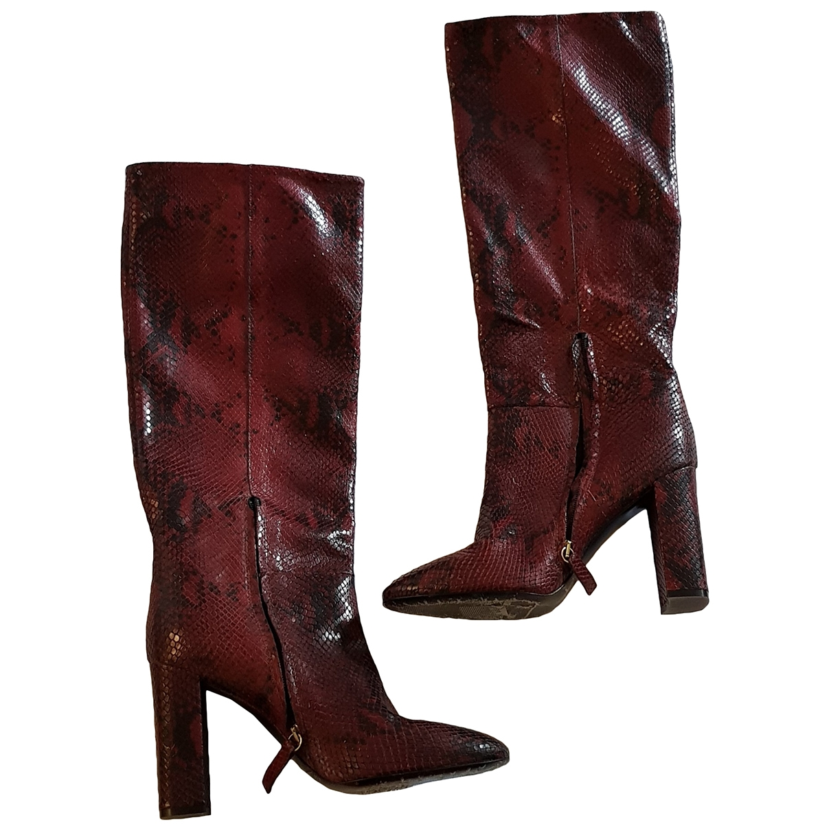 Twin Set \N Red Leather Boots for Women 41 EU