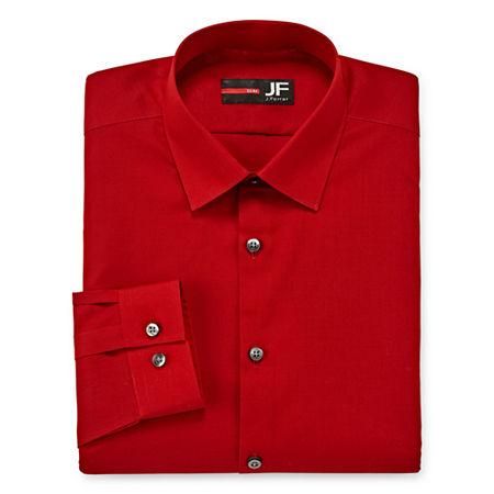 JF J.Ferrar Men's Stretch Easy-Care Long Sleeve Dress Shirt-Big & Tall, 17.5 36-37, Red