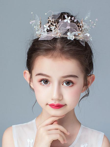 Milanoo Tocados de niña de las flores Perlas rosadas Accesorio Perla Accesorios para el cabello para niños