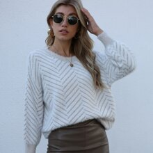 Flaumiger Strick Pullover mit Chevron Muster