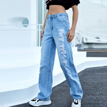 Light Wash Ripped Detail Baggy Jeans