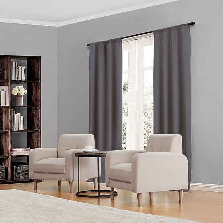Eclipse Kendall Rod-Pocket Thermal Blackout Curtain Panel, One Size , Gray