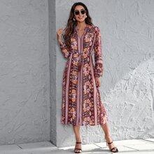 Kleid mit eingekerbtem Kragen, Band vorn, Blumen & Streifen Muster