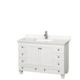 Acclaim 48 Inch Single Vanity, Cultured Marble Top (White, Light-Vein Carrara Cultured Marble)