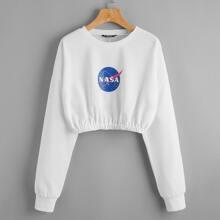 Letter Graphic Drop Shoulder Crop Sweatshirt