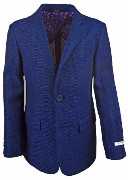 Boys 2 Button Single Breasted Notch Lapel Navy Linen Blazer