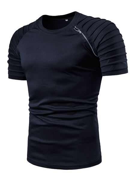 Milanoo T Shirt For Men Ruched Zipper Cotton Crewneck Short Sleeve T Shirt
