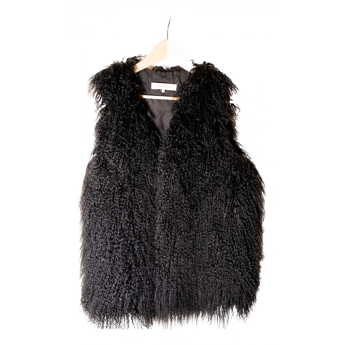Gerard Darel - Manteau   pour femme en agneau de mongolie - noir