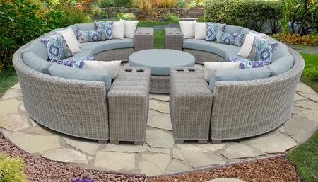 Coast Collection COAST-11b-SPA 11-Piece Patio Set 11b with 2 Armless Chair   4 Cup Table   1 Round Coffee Table   4 Curved Armless Chair - Beige and