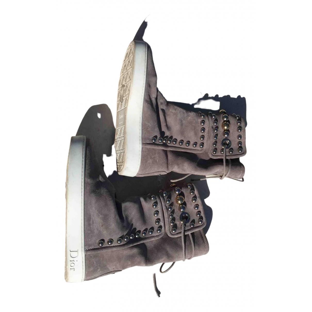 Dior \N Stiefel in  Grau Veloursleder