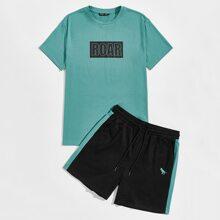 Top mit Buchstaben Grafik & Shorts mit Kontrast und seitlicher Naht Set