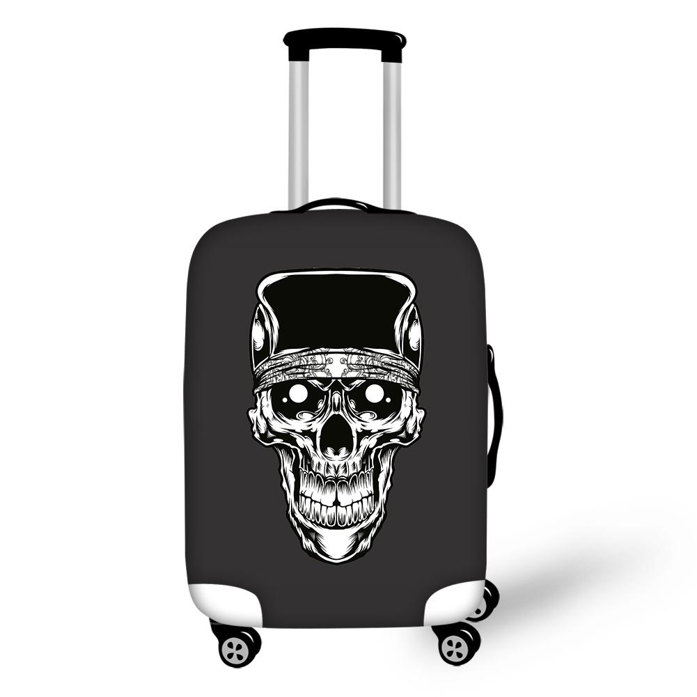 White Skull Head with Black Backgroud Spandex 3D Printed Waterproof Luggage Cover