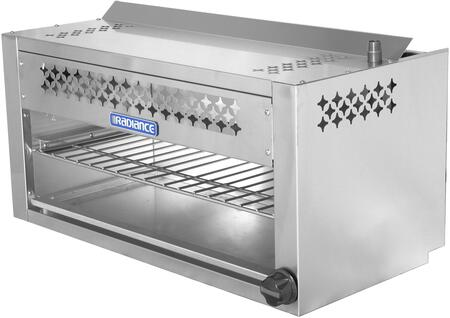 TACM-36 36 Cheese Melter with 35 000 BTU Output  Chrome Plated Heavy Duty Rack  Infra-Red Burner and Adjustable Gas Valve in Stainless