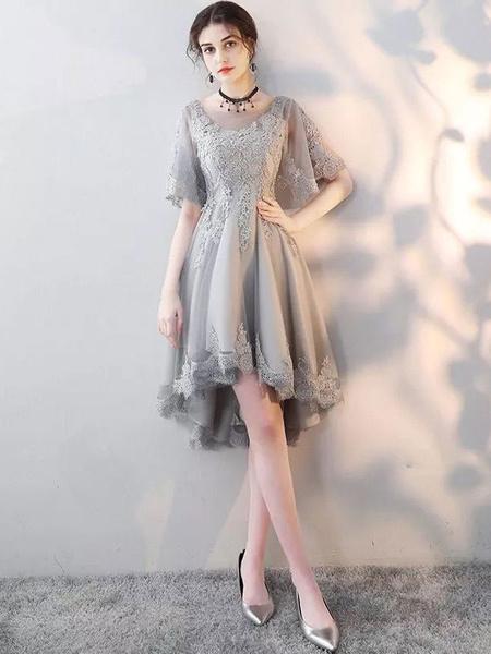 Milanoo Grey Prom Dresses Short Lace Backless Cocktail Dress Short Sleeve Cute Graduation Dress