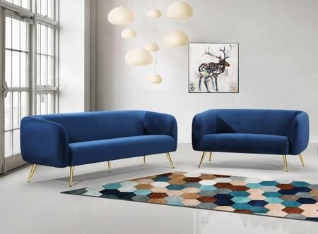 Harlow Collection 685NAVYSL 2-Piece Living Room Set with Sofa and Loveseat in