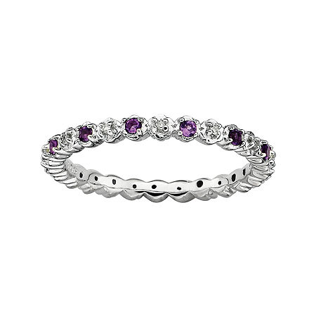 Personally Stackable Genuine Amethyst and Diamond-Accent Eternity Ring, 8 , No Color Family