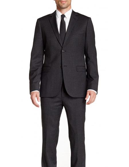 Mens Gray Slim Fit 2 Buttons Stretch Wool Notch Lapel Pinstriped Suit