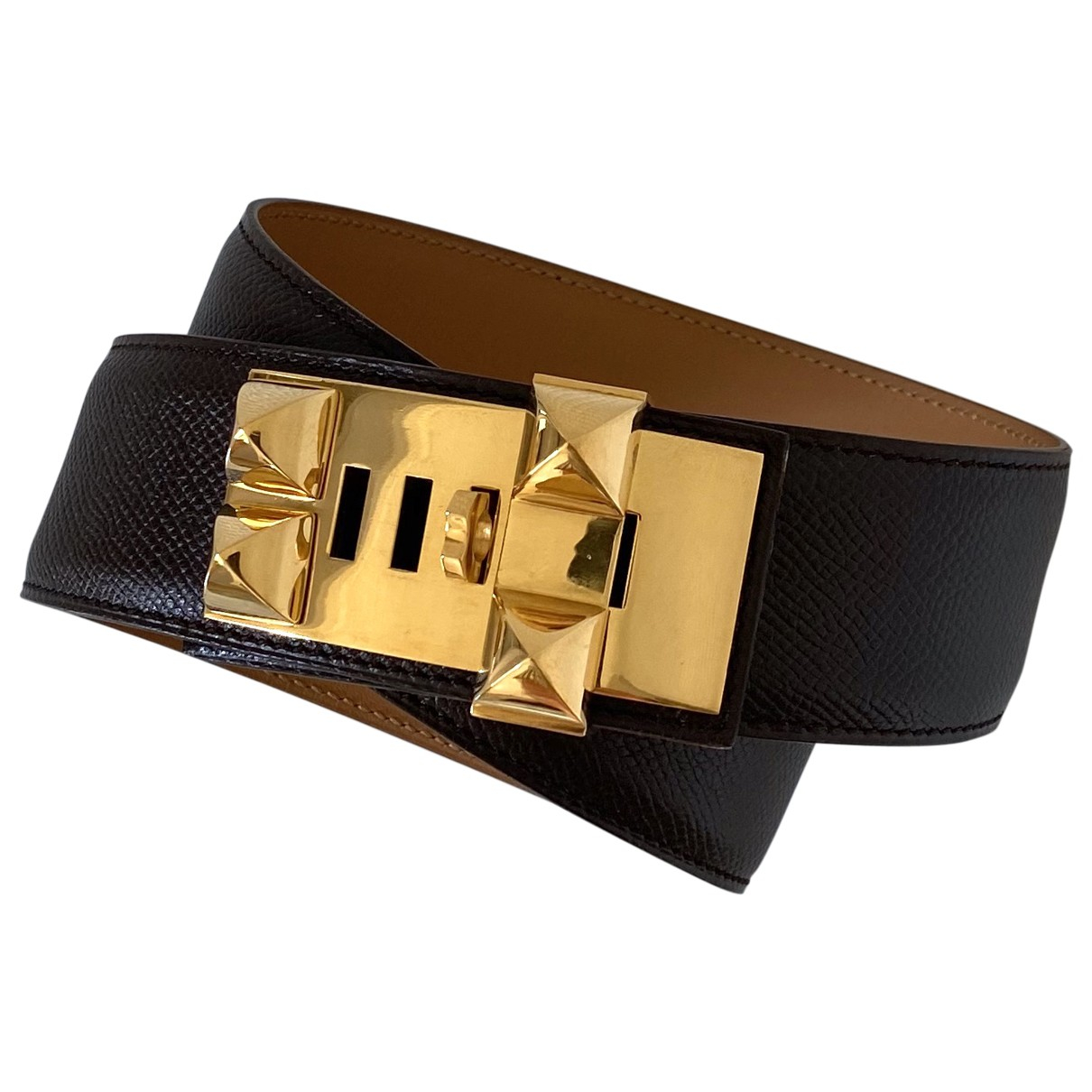 Hermès Collier de chien Brown Leather belt for Women 70 cm