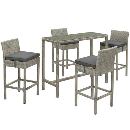 Conduit Collection EEI-3722-LGR-CHA-SET 5 PC Outdoor Patio Set with Powder-Coated Aluminum Frame  Tempered Glass Table Top  Synthetic Polyethylene