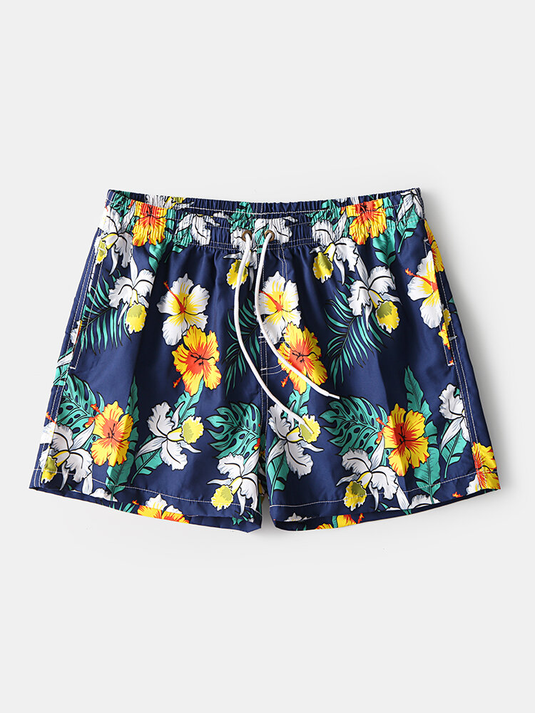 Floral & Leaves Print Loose Swimming Pants Breathable Drawstring Board Shorts With Pockets