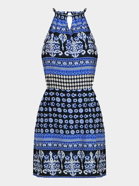 Yoins Totem Print Cut Out Self-Tie Mini Dress in Blue