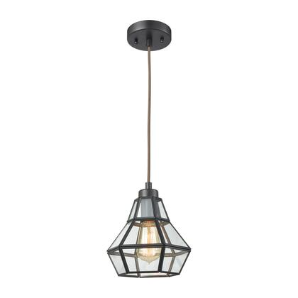 57125/1-LA Window Pane 1 Light Pendant in Oil Rubbed Bronze with Clear Glass - Includes Recessed Lighting