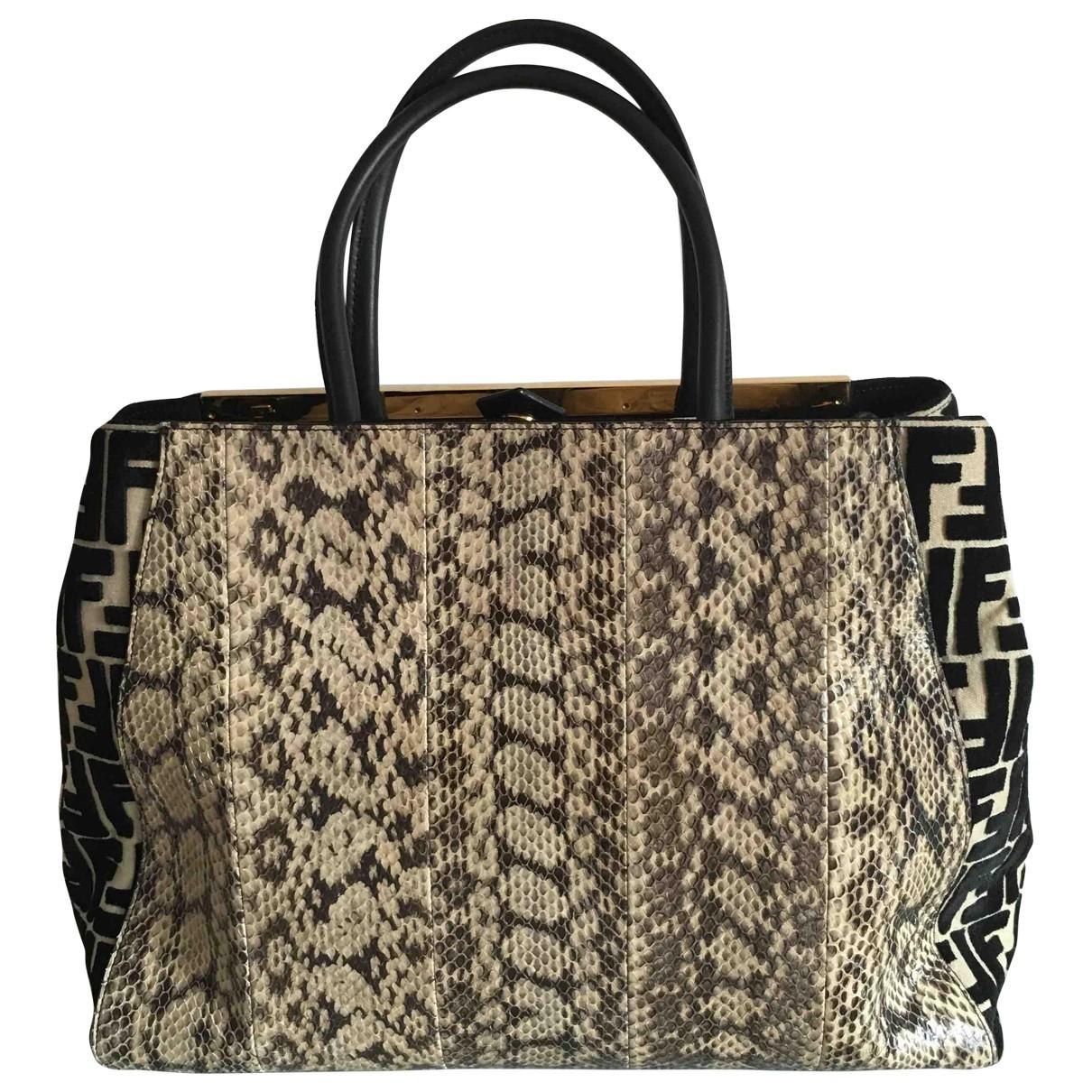 Fendi 2Jours Beige Water snake handbag for Women \N