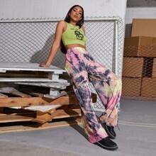Hose mit Batik und breitem Beinschnitt