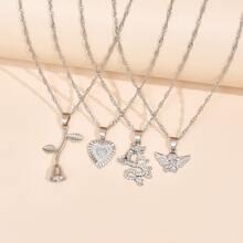 4 Stuecke minimalistische Halskette