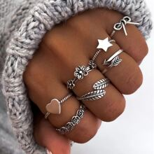 7 piezas anillo con estrella y lazo