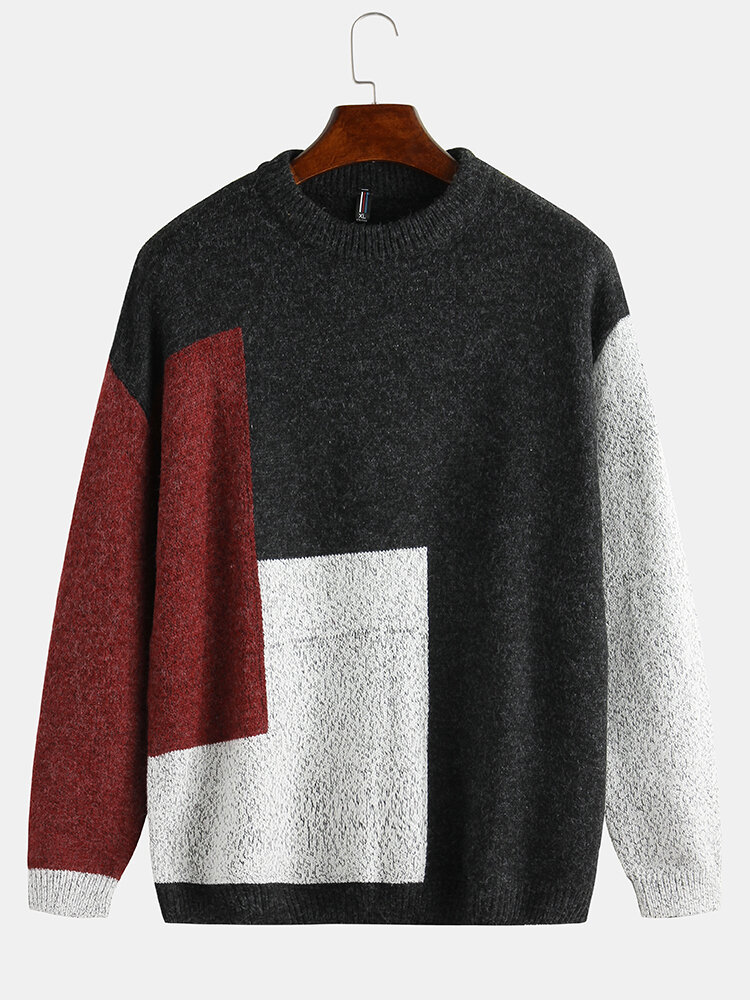 Mens Casual Patchwork Round Neck Loose Fit Sweater