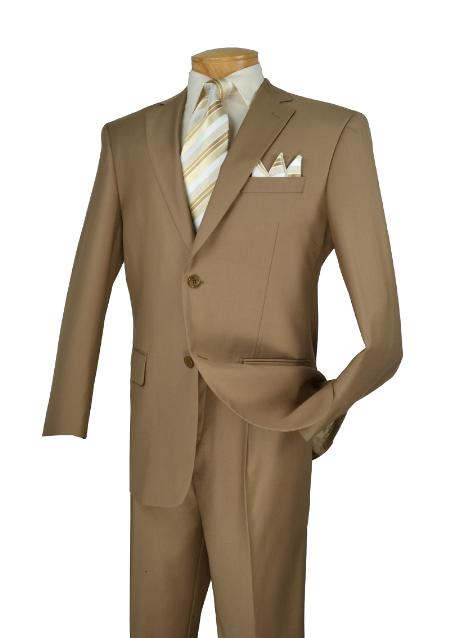 Poly/Rayon Executive Pure Solid Khaki Suit Notch Collar Pleated Pants