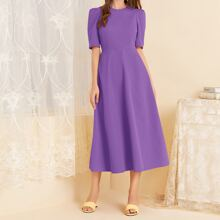 Puff Sleeve Solid A-line Dress