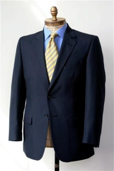 2 Button Big and Tall Size blazer Wool Suit Navy