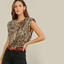 Leopard Print Shoulder Pad Muscle Top
