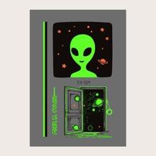1 Blatt leuchtender Tattoo Aufkleber mit Alien Muster