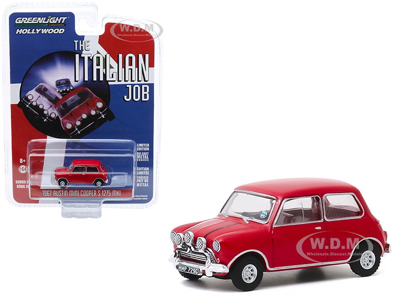 1967 Austin Mini Cooper S 1275 MkI Red The Italian Job (1969) Movie Hollywood Series Release 28 1/64 Diecast Model Car by Greenlight