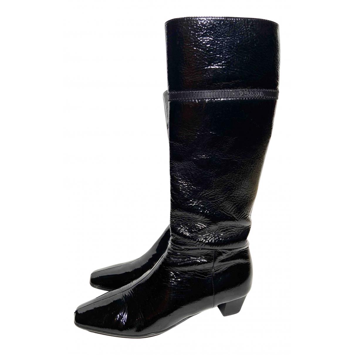 Prada \N Stiefel in  Schwarz Lackleder