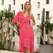 D&M Ruffle Trim Asymmetrical Hem Ditsy Floral Dress