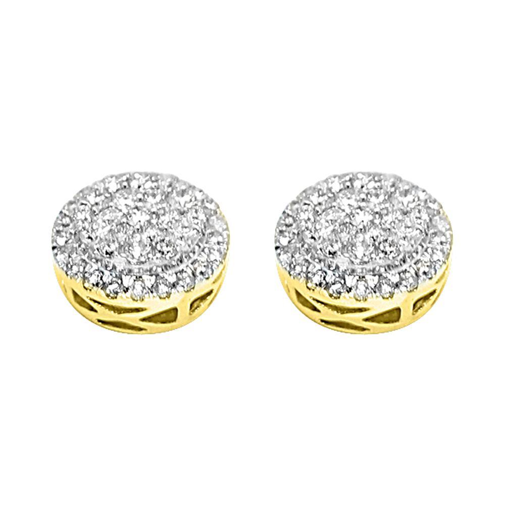 14K Yellow Gold 0.95 Carats Diamond Radiant Circle Earrings