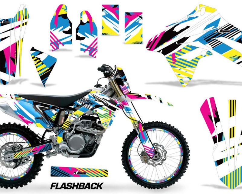 AMR Racing Graphics MX-NP-SUZ-RMX450Z-09-17-FB Kit Decal Sticker Wrap + # Plates For Suzuki RMX450Z 2009-2017áFLASHBACK
