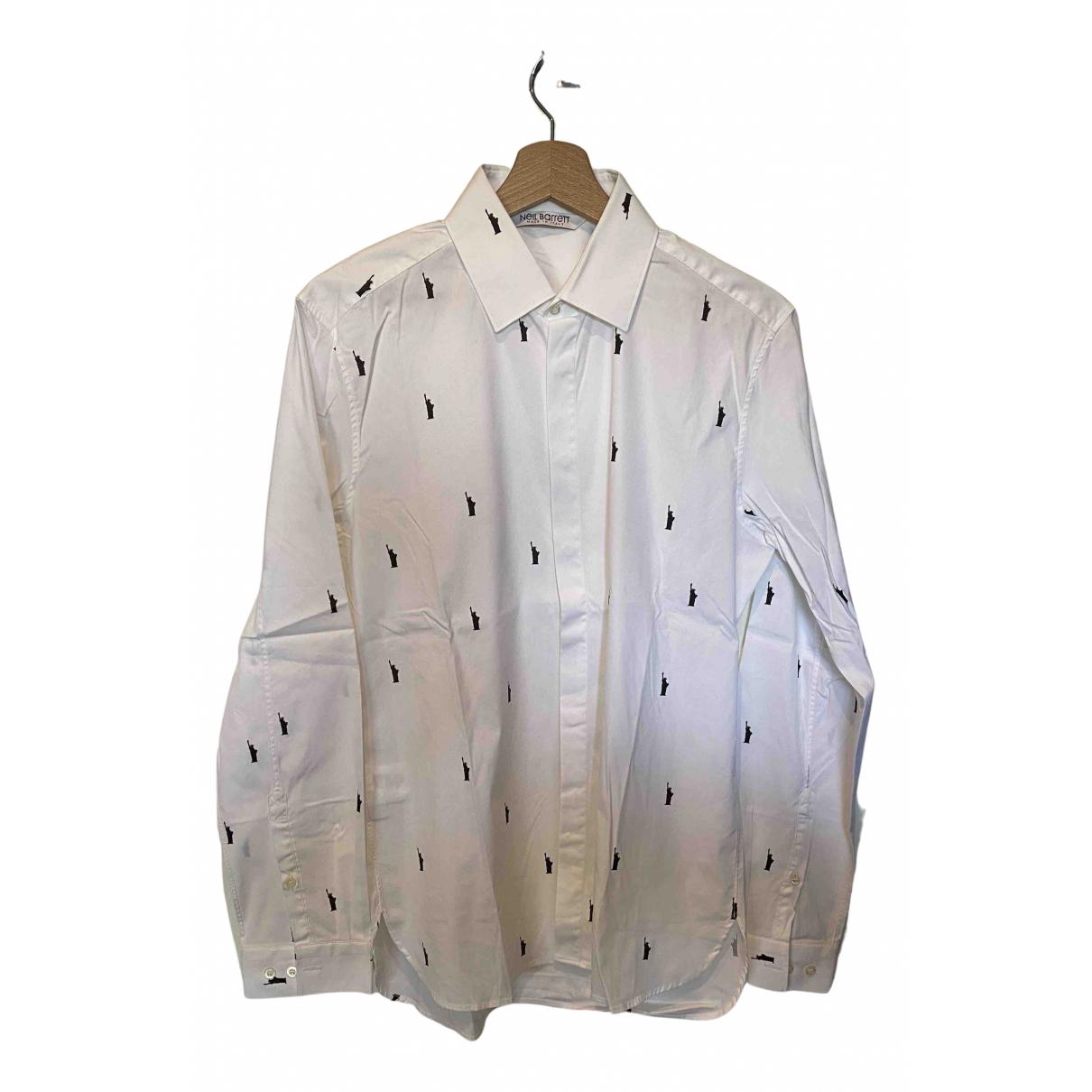 Neil Barrett N White Cotton Shirts for Men 39 EU (tour de cou / collar)