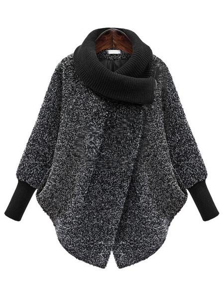 Milanoo Grey Cocoon Coat Asymmetrical Neckline Tweed Rib Knit Cuff Long Sleeve Womens Stylish Winter Coat