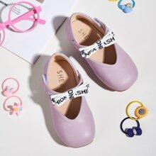 Toddler Girls Bow Decor Velcro Strap Flats